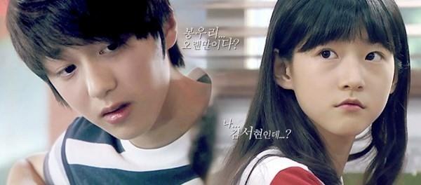 Kang Chan Hee và Kim Sae Ron thể hiện cặp đôi Dong Joo và Woo Ri thưở nhỏ trong Can you hear my heart.