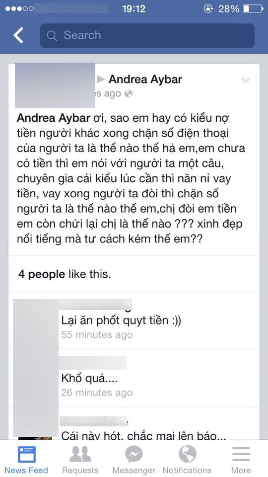Những lời lẽ khá bức xúc từ một chủ nợ của Andrea.