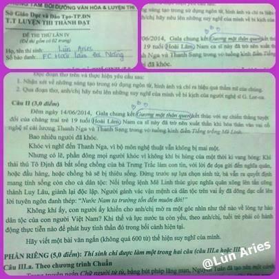 Hiện tượng Hoài Lâm xuất hiện trong đề thi thử môn Văn