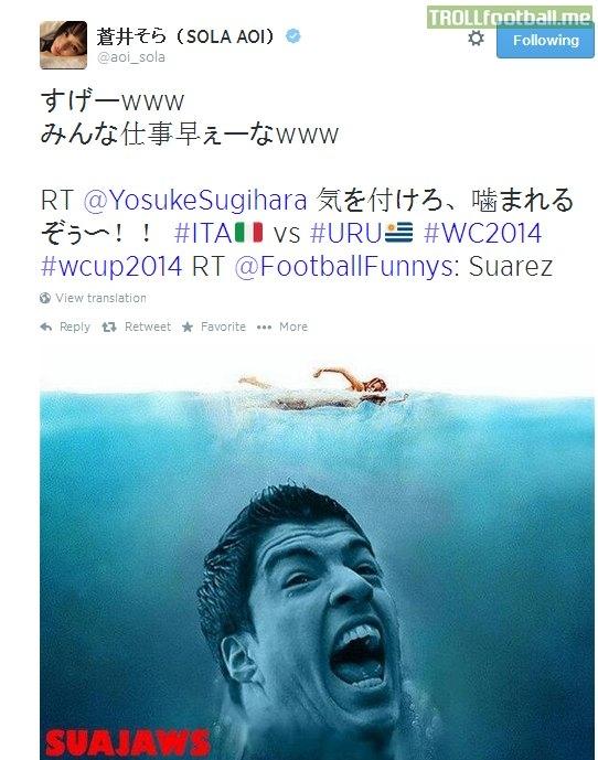 """Sao phim người lớn của Nhật, Sola Aoi đăng hình ảnh Suarezvào vai chính trong phim """"Hàm cá mập""""trên twitter của mình"""