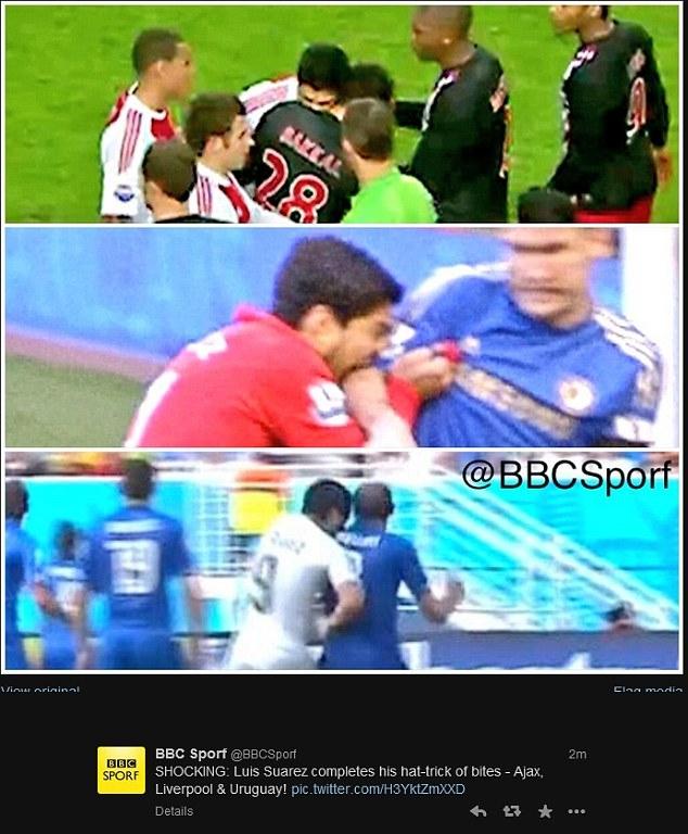 Đây là lần thứ 3 Suarez cắn đối thủ, sau các vụ Otman Bakkal (PSV, 2010) và Branislav Ivanovic (Chelsea, 2012)
