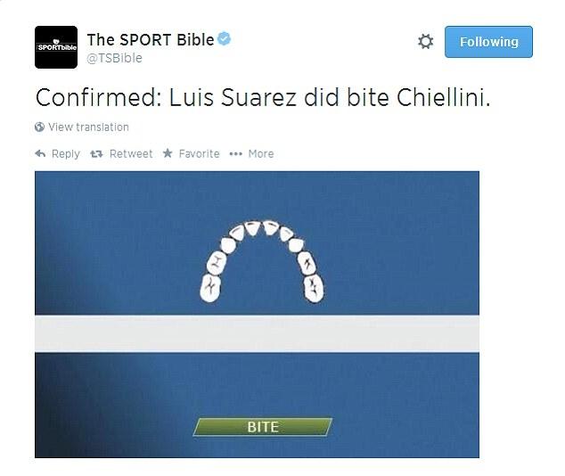 Dùng công nghệ goal line để xác định vết cắn của Suarez và đây là cú cắn trúng mục tiêu