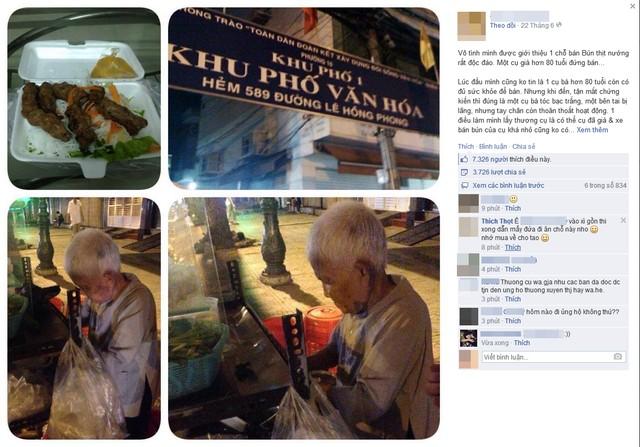 Bà cụ bán bún thịt nướng và lòng tốt của cư dân mạng