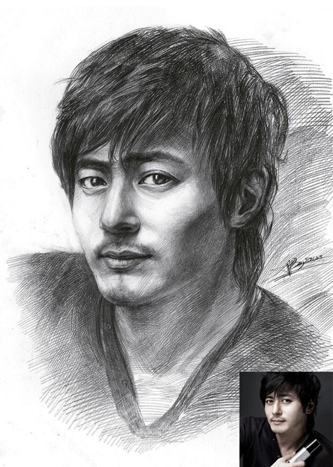 Chàng trai sinh 1997 vẽ chân dung bằng bút bi như người thật