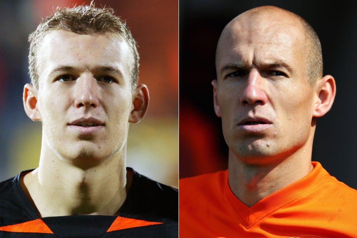 """Arjen Robben trẻ trung ở năm 2002 và một Arjen Robben tại World Cup 2014 khoác áo """"cơn lốc màu da cam"""" Hà Lan"""