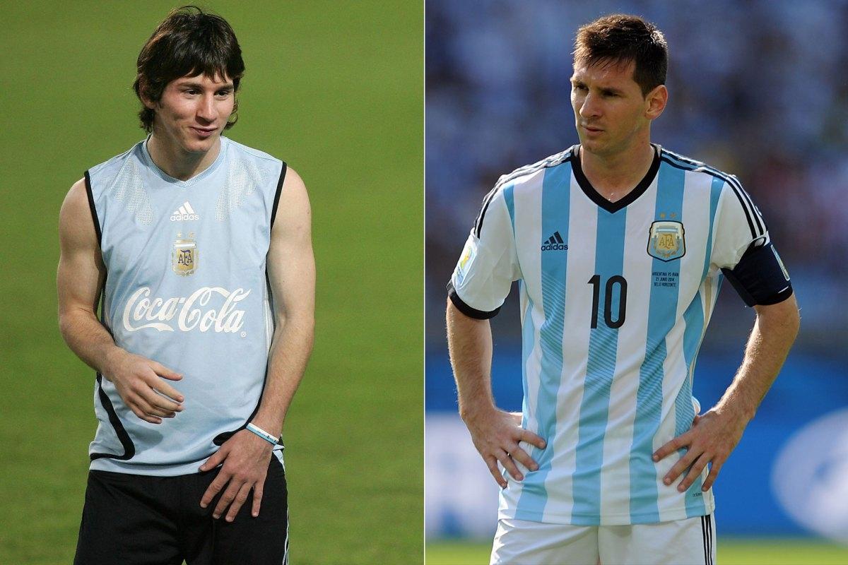 """Lionel Messi năm 2005 và anh chàng Messi đang thi đấu chotuyển Argentina tại mùa World Cup 2014 thì quả thật là """"gừng càng già càng cay"""" rồi."""