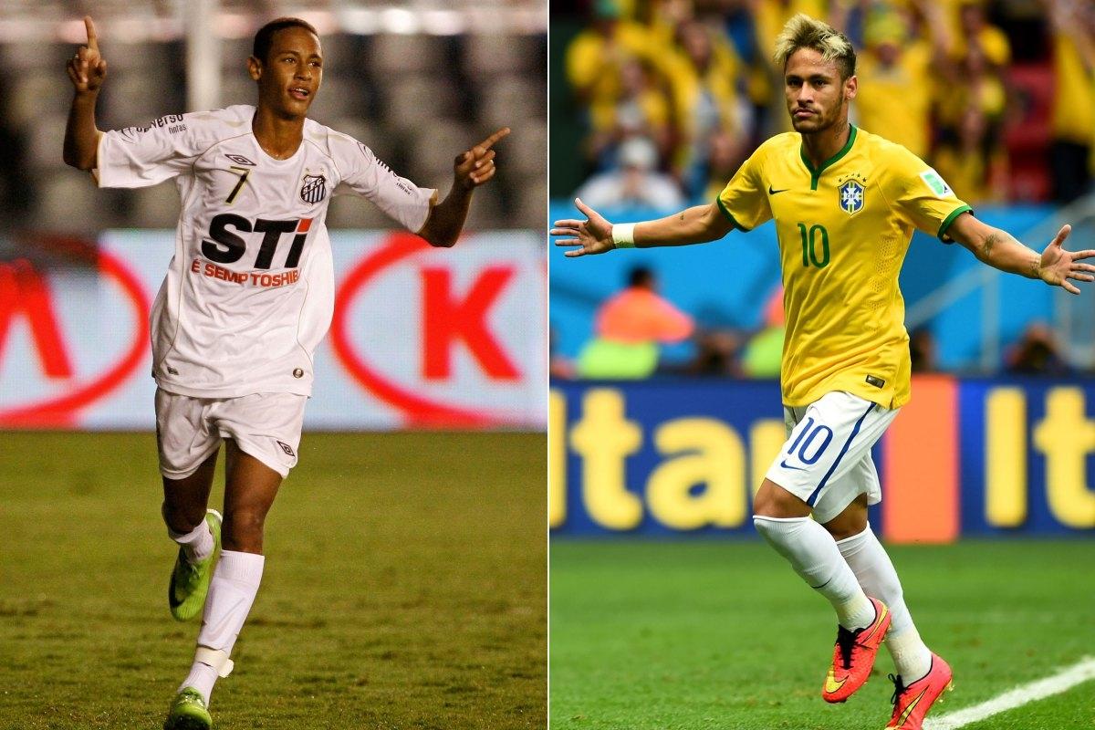 """Neymar ở năm 2009 và một Neymar đầy phong độ đang tranh tài trong màu áo Brasil tại World Cup 2014. Anh chàng này cũng được người hâm mộ đưa vào danh sách những chàng cầu thủ có gu ăn mặc"""" chuẩn không cần chỉnh"""" luôn đấy."""