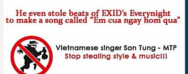 """Hình ảnh so sánh phong cách """"bản gốc - bản sao"""" của người dùng trên AllKpop đăng tải. Không chỉ so sánh hình ảnh, nickname này còn dùng lời lẽ khá nặng nề dành cho Sơn Tùng M-TP - Tin sao Viet - Tin tuc sao Viet - Scandal sao Viet - Tin tuc cua Sao - Tin cua Sao"""