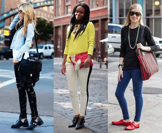 Giày cũng là một yếu tố không kém phần quan trọng. Không chỉ có lựa chọn giày thể thao, bạn cũng có thể chọn các thể loại giày khác như giày lười hoặc giày mọi.