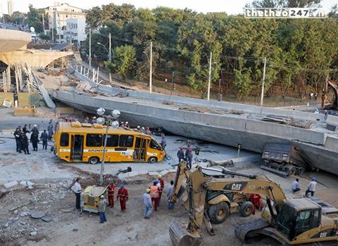 Hiện trường vụ sập cầu vượt kinh hoàng tại Belo Horizonte