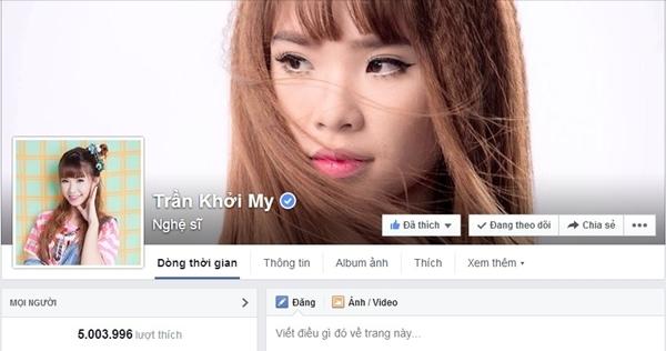 Trang fanpage của Khởi My chính thức cán mốc 5 triệu người theo dõi.