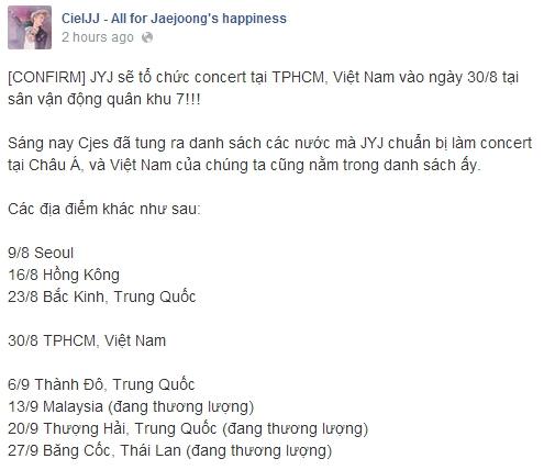 Fanpage củaJaejoongtại Việt Nam cũng xác nhận thông tin này