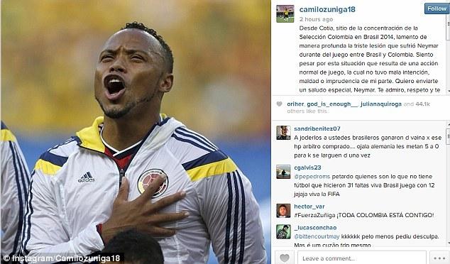 Zuniga đã phải lên tiếng xin lỗi Neymar trước khi anh đóng tài khoản
