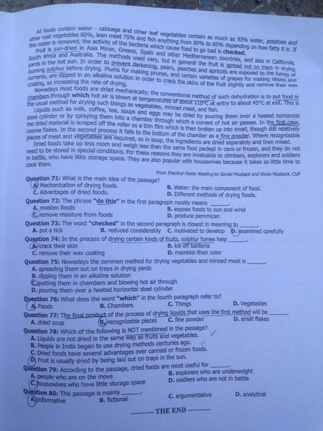 Đề thi và gợi ý đáp án kỳ thi Đại học 2014 môn Anh văn khối D