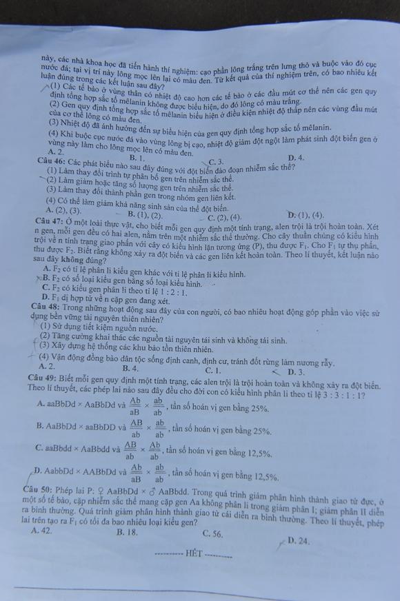 Đề thi và gợi ý đáp án kỳ thi Đại học 2014 môn Sinh học