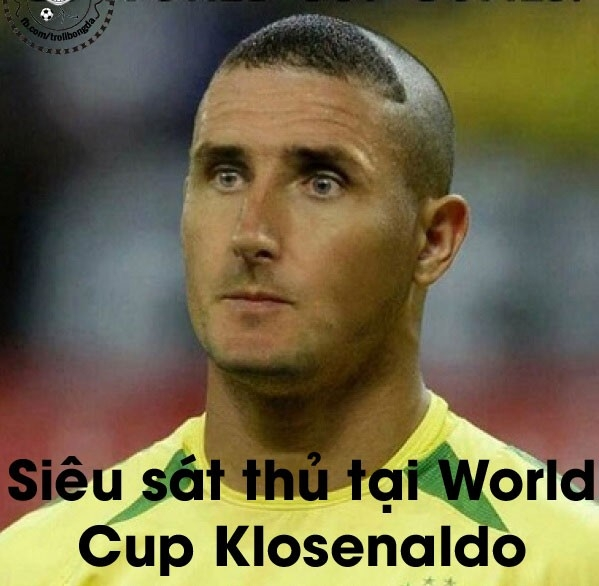 Siêu sát thủ mang tên Klosenaldo ghi tới 31 bàn thắng trong các kỳ World Cup (Ro béo 15, Klose 16).
