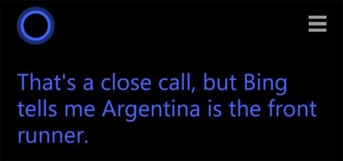 Cortana khẳng định Argentina vào chung kết.