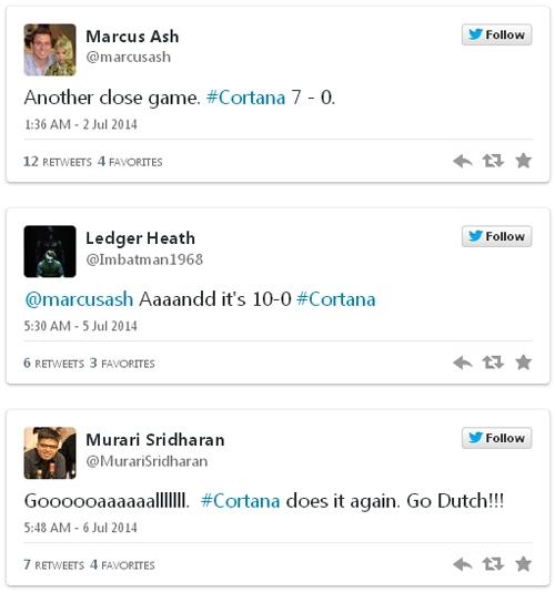 Số lần đoán đúng của Cortana liên tục được cập nhật trên Twitter.