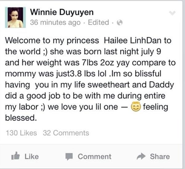 Mới đây, nữ ca sĩ Duy Uyên - cựu thành viên nhóm Mắt Ngọc đã hạnh phúc thông báo mình vừa hạ sinh một cô công chúa đầu lòng nặng 3,4kg. Cô công chúa nhỏ được bố mẹ đặt tên là Hailee Linh Đan, chào đời vào 22h30 ngày 9/7 (giờ Mỹ).