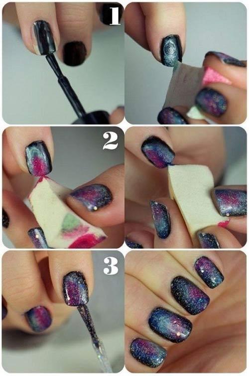 Bông mút là một công cụ rất tốt hỗ trợ cho bạn thực hiện phương pháp loang màu trên móng.