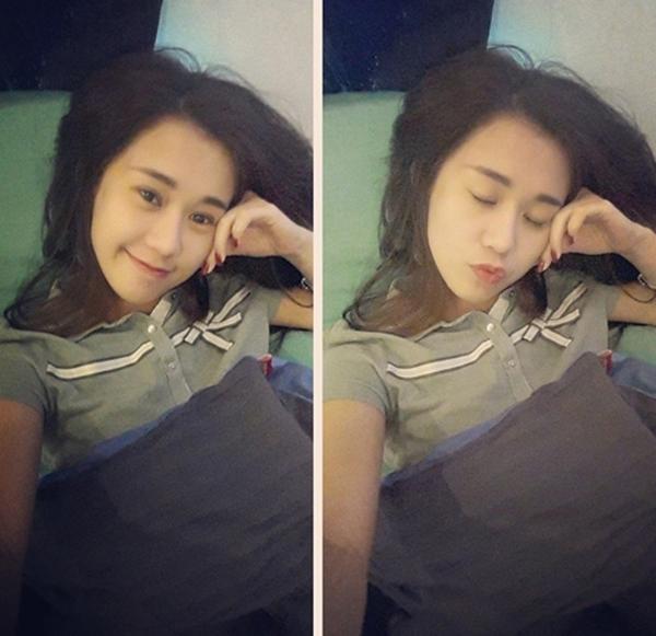 Hot girl Ngọc Thảo tự tin chụp ảnh tự sướng, khoe gương mặt mộc xinh xắn trước khi đi ngủ.
