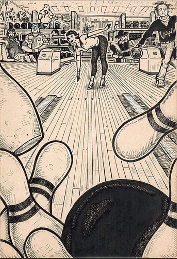 Này, nghĩ đơn giản thôi! Cô ấy đang chơi bowling thôi mà!