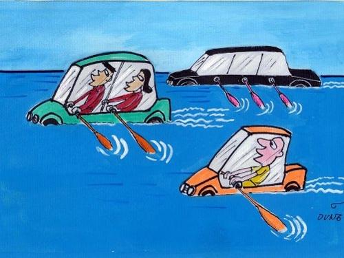"""Hài hước và suy ngẫm với những bức tranh biếm họa về """"mùa ngập"""""""