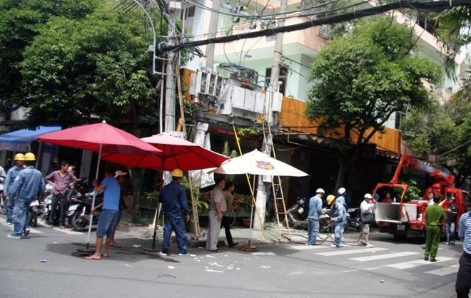 Cột điện nơi xảy ra vụ việc.