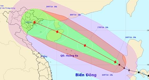 Dự kiến đường đi bão Rammasun của Trung tâm dự báo Khí tượng và Thủy văn Trung ương chiều 16/7.