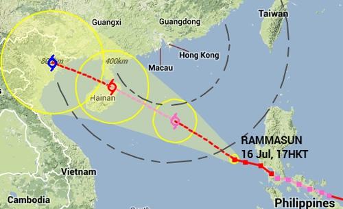 Theo dự báo của Đài Hong Kong, bão Rammasun cũng sẽ đi vào đất liền Việt Nam sau khi vào đảo Hải Nam (Trung Quốc)và qua Vịnh Bắc Bộ. Ảnh:hko.gov.hk.
