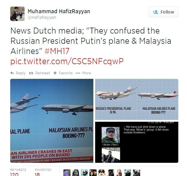 """Nhiều thành viên của Twitter cũng tin rằng chiếc Boeing 777 đã """"thế mạng"""" cho chiếc chuyên cơ của Putin vì hình dạng lẫn đường bay của hai máy bay này khá giống nhau."""