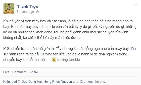 Nhiều người dùng Facebook tại Việt Nam cũng bày tỏ sự tức giận khi mục tiêu bị tấn công là một máy bay dân sự.