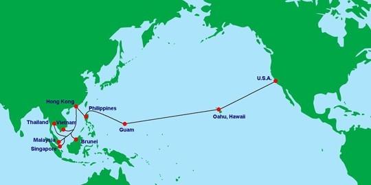Tuyến cáp quang AAG trung chuyển phần lớn các kết nối internet từ Việt Nam đi quốc tế.