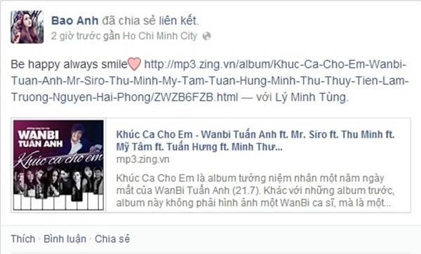 """""""Be happy always smlie"""" cũng là lời chúc của Bảo Anh dành cho WanBi. Cô hi vọng dù WanBi có đang ở nơi đâu thì anh sẽ luôn vui, luôn mỉm cười vì WanBi mãi hiện hữu trong trái tim của mỗi người."""