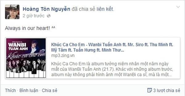 """Trong album Khúc ca cho em, ngoài những sáng tác của WanBi Tuấn Anh thì còn có 1 ca khúc mang tên 'Về bên anh"""" của Hoàng Tôn được WanBi và Mỹ Tâm song ca. Hoàng Tôn cũng đã chia sẻ """"always in our heart!"""" như một lời chúc dành đến cho WanBi."""