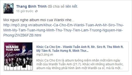 Trịnh Thăng Bình cũng đã chia sẻ album lên trang cá nhân của anh cho các fan của anh cùng thưởng thức.