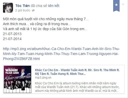 """Là một người bạn khá thân với WanBi lúc sinh thời, nữ ca sĩ Tóc Tiên sau khi nghe lại những ca khúc của WanBi đã bồi hồi, xúc động. Tóc Tiên lặng người: """"Món quà tuyệt vời cho những ngày mưa tháng 7. Anh thích mưa... và cũng ra đi trong mưa. Và anh sẽ mãi là 1 ký ức đẹp của Sài Gòn trong em."""""""