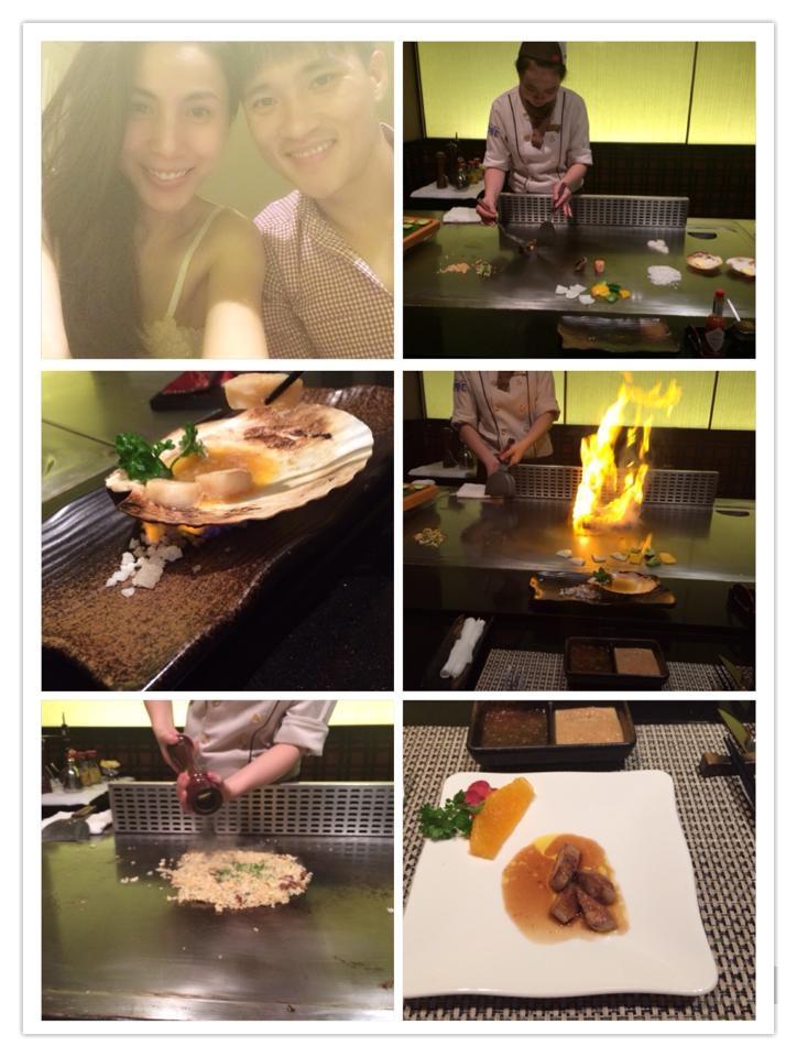 Hai vợ chồng ăn tối tại một nhà hàng sang trọng với những món ăn được làm trực tiếp trước sự chứng kiến của thực khách. - Tin sao Viet - Tin tuc sao Viet - Scandal sao Viet - Tin tuc cua Sao - Tin cua Sao