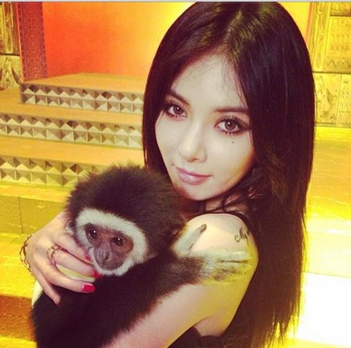 HyunA khoe hình ôm khỉ khi đang quay MV