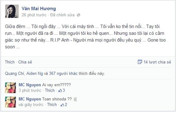 và Văn Mai Hương cũng post một status tiếc thương người anh.