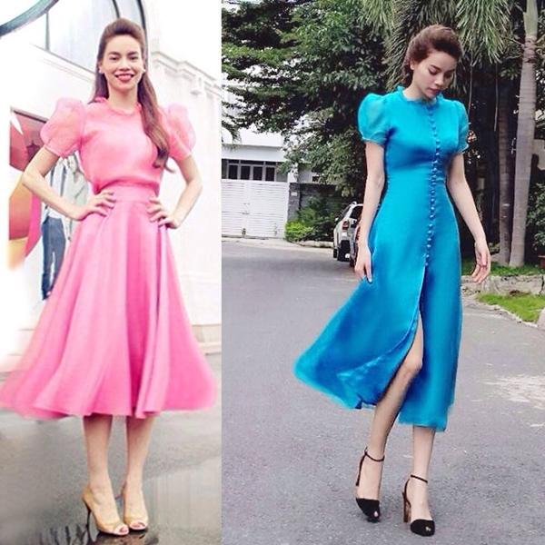 """Khoe dáng thướt tha lần lượt trong hai hình ảnh váy hồng ở Hà Nội và váy xanh ở Sài Gòn, Hồ Ngọc Hà hài hước """"phản pháo"""" những bình luận chê mình gầy: """"Bé gầy nhưng bé khỏe""""."""