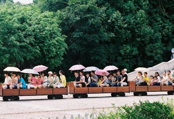 Xe chở khách đi tham quan trong công viên