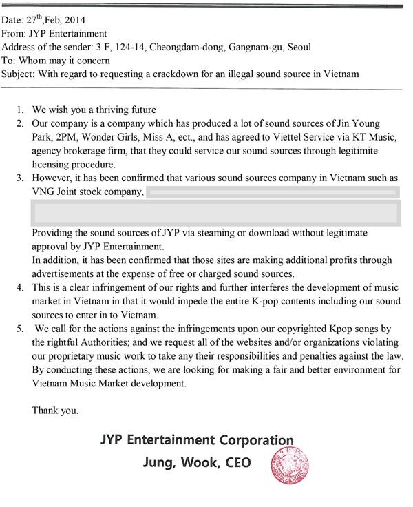 Công văn cảnh báo vi phạm bản quyền của JYP Entertainment.