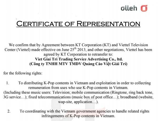 Các văn bản xác nhận quyền hợp pháp của VGT trong sử dụng, phân phối một số sản phẩm Kpop tại Việt Nam