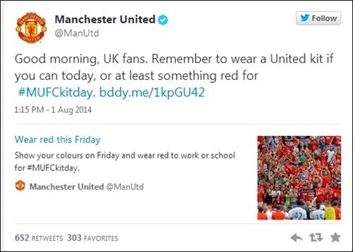 Một thông điệp kêu gọi mặc áo đấu của MU trong ngày Kit Day được gửi từ tài khoản Twitter của đội bóng.
