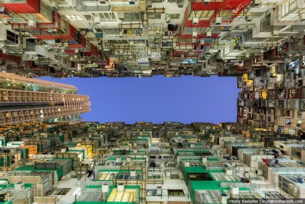 Một bức ảnh được chụp từ dưới lên.