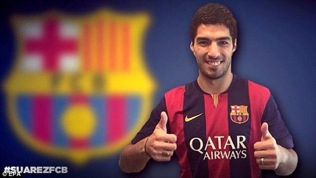 Suarez gia nhập Barcelona với giá 75 triệu bảng