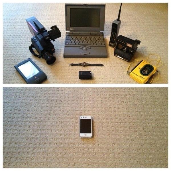 13. Một chiếc smartphone được sản xuất năm 2013 có thể thay thế cho cả 8 sản phẩm công nghệ năm 1994