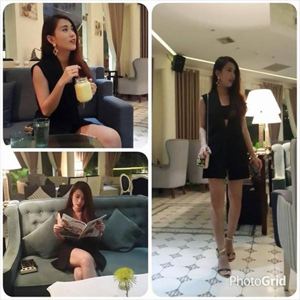 Hot girl Ngọc Thảo diện đồ cá tính đi nhâm nhi cafe cùng bạn bè.