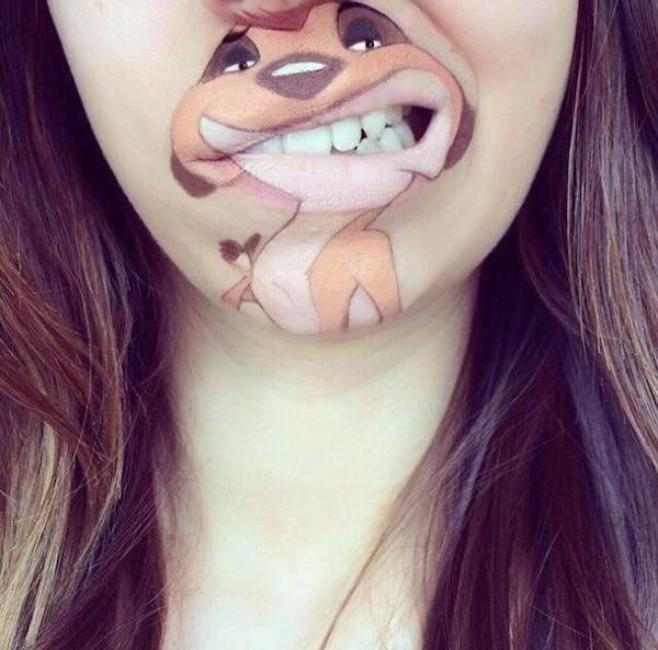 Thích thú với những hình vẽ hoạt hình trên môi